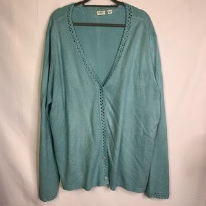 3/$25 CATO Light Teal V-Neck Cardigan Sweater
